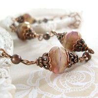 Victorian Rose - Artisan Glass in Dusty Mauve Pink and Ivory - Victorian Style Copper Jewelry - Victorian Jewelry Dusty Pink Rustic Wedding