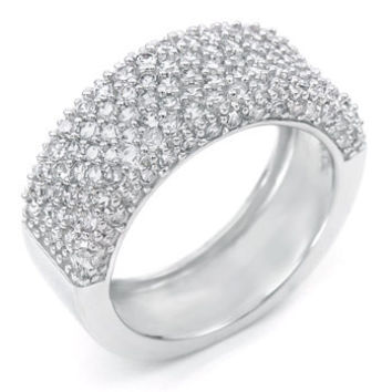Sterling Silver Round Cut CZ Pave Set Wide Band Wedding Band Size 5-9