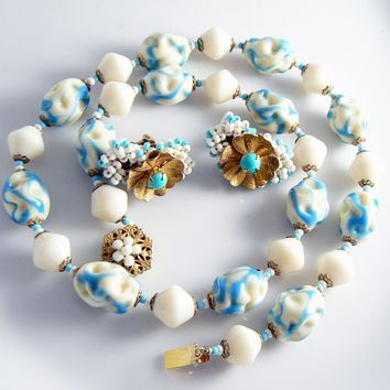 Miriam Haskell Art Glass Necklace Earring Set