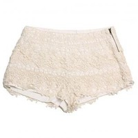 Cream Layered Lace Crochet Shorts