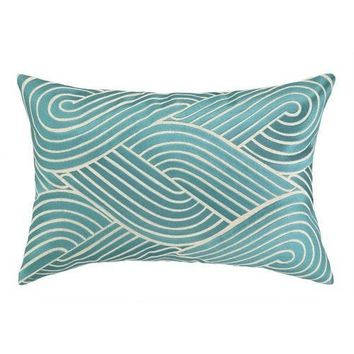Waves Sky Blue Modern Throw Pillow