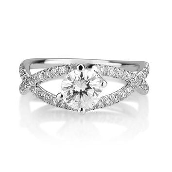 Diamond Engagement Ring Round Cut Certified Diamonds White Gold Wedding Gift Anniversary Fiancee Luxury Jewelry TR49
