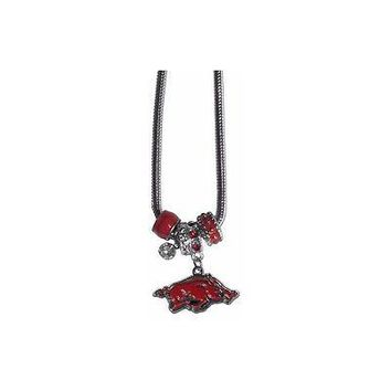 "Arkansas Razorbacks Euro Bead Necklace Silver Tone 18"" Snake Chain"