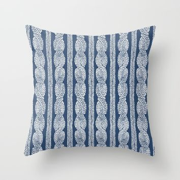 Cable Knit Navy Throw Pillow by Project M