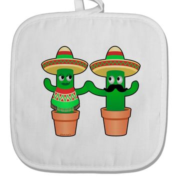 Fiesta Cactus Couple White Fabric Pot Holder Hot Pad by TooLoud
