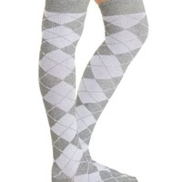 Gray Combo Argyle Over-the-Knee Socks by Charlotte Russe