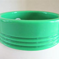 Green Bangle, Art Deco Lucite,  Wide Bracelet