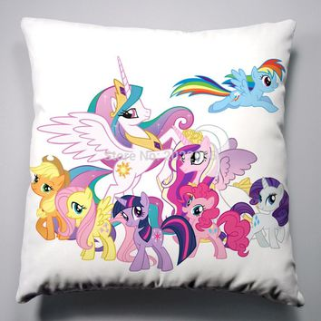 Anime Manga My Little Pony Rainbow Horse Pillow 40x40cm Pillow Case Cover Seat Bedding Cushion 003
