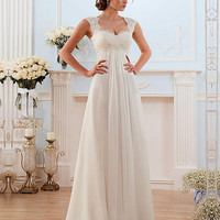 Vestido de noiva Lace Wedding Dresses Sweep Train Lace-up Back Chiffon Bridal dress New Arrival