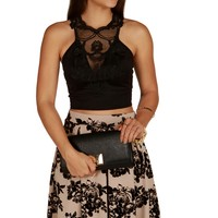 Promo-black Y Crochet Crop Top