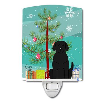 Merry Christmas Tree Black Labrador Ceramic Night Light BB4182CNL