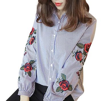 Women Long Sleeve Floral Embroidery Autumn Blouse
