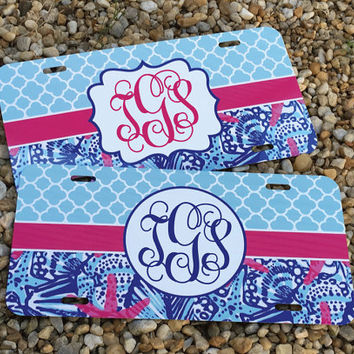 NEW! Sea Shells Monogram License Plate Frame - Lily Pulitzer Inspired - Monogram Car Tag Front License Plate Personalized Plate