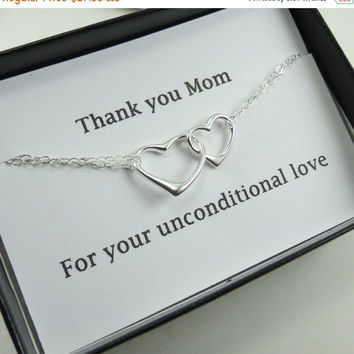 ON SALE Thank You Mom Bracelet Gift, Heart Bracelet & Message Card, Gift Idea for Mom Grandma, Mother of the Bride, Groom, Wedding Bracelet