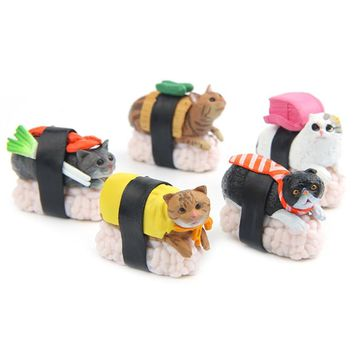 Kawaii Sushi Cat Miniature Figurine Bonsai Decoration mini fairy garden animal statue resin craft Home Car Ornament gift