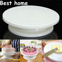 new Food Grade Plastic Material Cake Decorating Turntable Rotating Revolving Icing Kitchen Display Stand 28cm Baking Tools