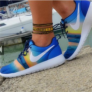 NIKE Women Men Roshe Running Sport Casual Shoes Sneakers Sunset