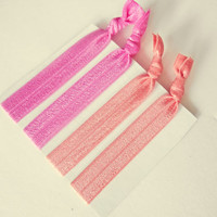 Hot Pink and Coral Elastic Hair Ties No crease hair ties Ponytail Holder Hair Accessories