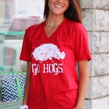 Go Hogs! Vintage V-neck {Red}