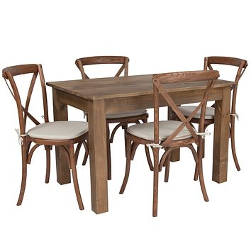 """46""""x30"""" Farm Table Set with 4 Cross Back Chairs and Cushions"""