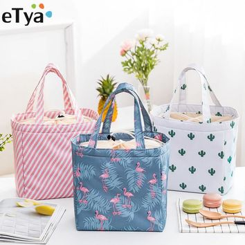 eTya Thermal Insulated Lunch Food Box Bag For Women Ladies Student Kid Men Picnic Food Cooler Box Tote Storage Bags