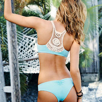 Back Crochet Lace Patchwork Triangle Bikini