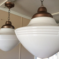 Vintage Large Pendant School Light Art Deco MilkGlass 1 or Pair Available 1920s