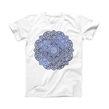 The Dark Blue Indian Ornament ink-Fuzed Front Spot Graphic Unisex Soft-Fitted Tee Shirt