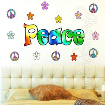 Peace Sign Wall Decal Peace Wall Words Love Hippie Retro Flowers Sticker HF2