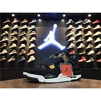 Nike Air Jordan 4 Retro Royalty Black/Metallic Gold-White