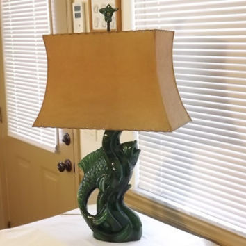 1950's Royal Haeger Green Koi Fish Art Pottery Table Lamp Original Fiberglass Shade Finial