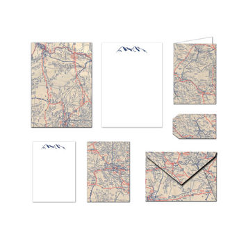 Printable Stationary Set - Vintage Map - Notes / Card / Gift Tag / Envelope
