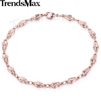 Trendsmax Trendy 4mm Womens Girls Friendship Chain Tulip Bud Bead Beaded Link Rose Gold Filled Bracelet GB394