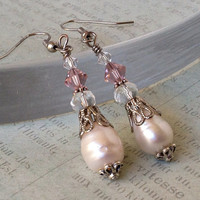 Fresh Water Pearl Earrings - Jane Austen Style, Victorian Inspired, Pink Earrings, Wedding Earrings, Wedding Jewelry, Vintage Style, Bridal