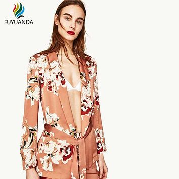 Women Vintage Floral Print Blazer Notched Collar Sashes Long Sleeve Coat Casual Outerwear Casaco Feminine 2017 Summer Brand Tops