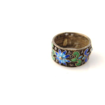 SALE: Enamel Ring - Silver - Chinese - Vintage - 1930s
