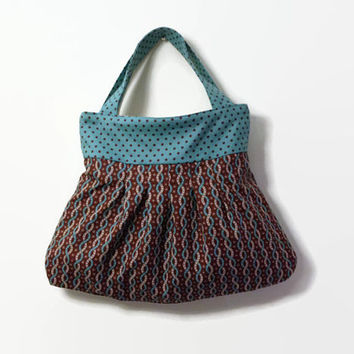 Pleated Hand Bag Tote -  Chocolate Brown and Teal Blue Braids - Handmade Cotton Pleated Purse