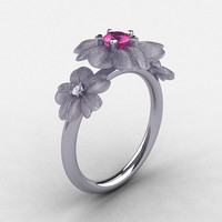 14K White Gold Pink Sapphire Diamond Flower Wedding Ring, Engagement Ring NN107-14KWGDPS