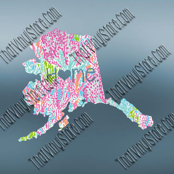 Alaska Preppy Pattern State Decal | Alaska Heart Home Decal | I Love Alaska Decal | Homestate Decals | Love Sticker | 042