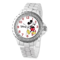 Disney Adult Size White Band w/ Crystal Bezel Mickey Mouse Watch - Sales Cache