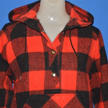 80s Buffalo Plaid Wool Pull Over Women's Jacket Small