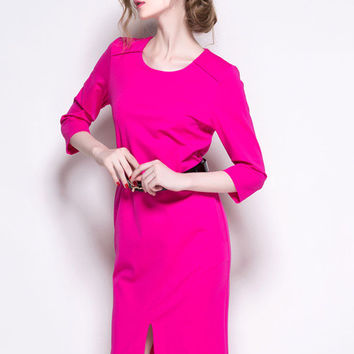 Pink Waist Belt Front Slit Midi Dress
