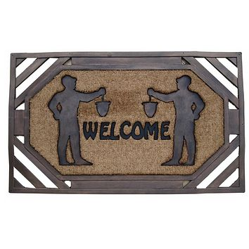 Large Brush Welcome Rubber and Coir Door Mat