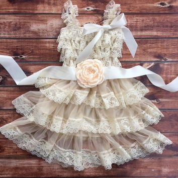Flower girl dress, coral flower girl dress, lace baby dress, rustic girl dress, pink flower girl dress, country flower girl, vintage dress