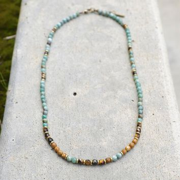 'Prosperity and Abundance' Jade and Tigers Eye Delicate Necklace