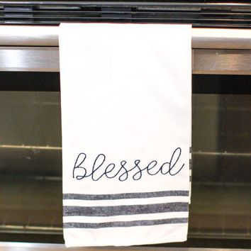 Embroidery Tea Towel - Blessed