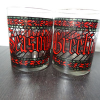 Vintage Houze Set of 4 Seasons Greetings Stained Glass Style Christmas/Holiday Juice/Lowball Bar/Cocktail Glasses with Gold Rims