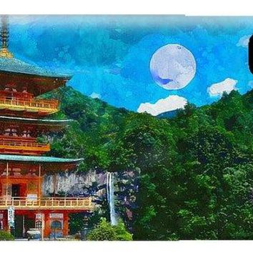 Temple And Waterfall - Phone Case