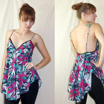 vtg 80s top // teal & pink floral tunic hibiscus TANK TOP beach cover up // S c803