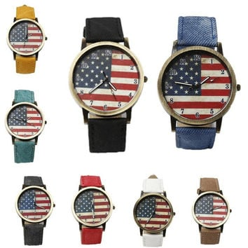 Fashion British retro Graffiti watches Korean simple style American flag denim belt lovers students watches = 1956444996